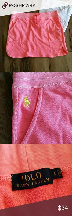 "Polo Ralph Lauren Pony Drawstring Skirt Size small Hot pink Pockets on each side Drawstring So comfortable  Euc worn once and still in gorgeous condition 16"" across the waist and 15"" long Polo by Ralph Lauren Skirts"