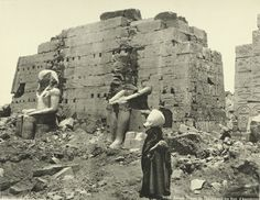 Karnak Temple of Thothmes III [Tuthmosis III], the Statues of Amenhotep I 1870