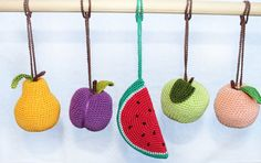 Set of 5 Fruits baby gym toy car seat toy crib by LanaCrocheting