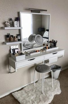 Bedroom makeup vanity ideas wall dressing table makeup vanity table furniture design cosmetic mirrors with Bedroom Decor, Stylish Bedroom, Furniture, Wall Mounted Dressing Table, Makeup Room Decor, Bedroom Makeup Vanity, Bedroom Design, Home Decor, Vanity Shelves