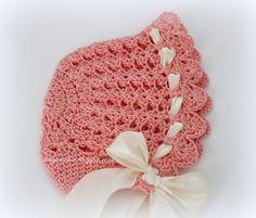 free crochet baby bonnet pattern – Knitting Tips Crochet Baby Bonnet, Crochet Baby Hat Patterns, Baby Girl Crochet, Crochet Baby Clothes, Crochet Beanie, Love Crochet, Knit Crochet, Baby Patterns, Baby Bonnet Pattern Free