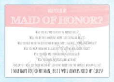 Will You Be My Maid of Honor Card  Maid of Honor by ForTheMaids, $4.00