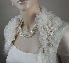 Bridal Floral Bolero Jacket / 100% silk organza. $235.00, via Etsy.