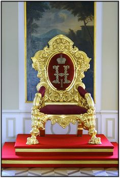 "Grand Peterhof Palace, St.Petersburg: The Throne of Nicholas I (Nicholas Pavlovich Romanov) (1796-1855) Russia. Husband of Princess Charlotte (Alexandra Feodorovna) (1798-1860) Prussia. In 1833 the minister of education devised a program of ""Orthodoxy, Autocracy and Nationality"" as the guiding principle of the regime. The people were to show loyalty to the unrestricted authority of the Tsar &   the Russian Orthodox Church. This led to increased repression of all classes & excessive…"