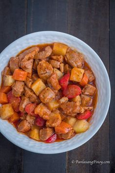 Pork Menudo is a Filipino pork stew dish with carrots and potato. Filipino Pork Menudo Recipe, Menudo Recipe Easy, Pinoy Recipe, Recipe Recipe, Recipe Ideas, Pork Recipes, Asian Recipes, Cooking Recipes, Easy Filipino Recipes