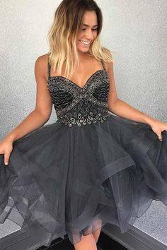 Sparkly Beads Short Grey Tulle Homecoming Dress With Beading PG161