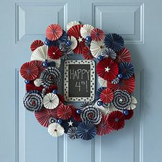Fourth of July umbrella wreath