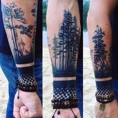 Tatu stuffed in the Moscow parlor Tatu Times … - Tattoos Heidnisches Tattoo, Tree Sleeve Tattoo, Wood Tattoo, Nature Tattoo Sleeve, Full Sleeve Tattoos, Tattoo Sleeve Designs, Arm Band Tattoo, Natur Tattoo Arm, Natur Tattoos