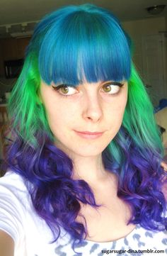Blue green purple rainbow hair