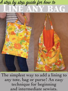 How to line a bag: the simple way of lining a bag or tote can be applied to the simplest, and the most complicated purses and bags by a beginner sewer.