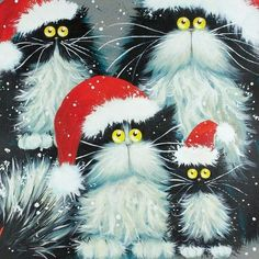 """""""Purrfect Christmas"""" Art cards by Kim Haskins. Christmas Animals, Christmas Cats, Merry Christmas, Christmas Print, Christmas Christmas, Crazy Cat Lady, Crazy Cats, Frida Art, Image Chat"""