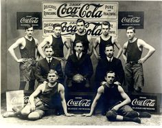 Coca-Cola-sponsored basketball team c. 1914.   http://www.coca-colacompany.com/history/2012/07/refreshing-the-olympics-through-the-archives.html