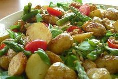 Potato salad may not be revolutionary, but this version is remarkably delicious, satisfying, and loaded with powerfully good nutrition. Potato Salad Mustard, Easy Potato Salad, Roasted Potato Recipes, Roasted Potatoes, Salad Vinegar, Salad Recipes Video, Asparagus Salad, Potato Dishes, Healthy Dinner Recipes