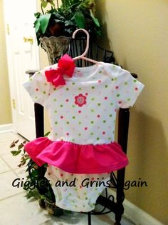 Boutique Pink and Lime Green Happy Flower Ruffled Onesie Dress with Matching Hair Bow