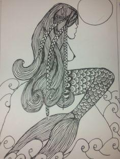 b82c37f040 goddess of the sea A 4 hour doodle tangle... 5 x 7