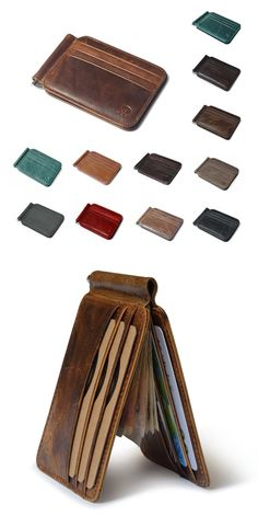 Retro Money Clips Genuine Leather Clamp for Money Holder 12 Credit Card Slot Case Women Men Clutch Wallets Man Clutch, Man Purse, Tote Purse, Clutch Wallet, Money Clip Card Holder, Money Holders, Diy Wallet, Best Wallet, Money Clips