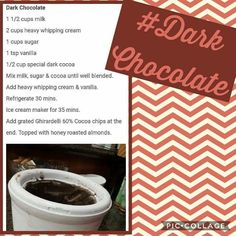 Recipe for Pampered Chef Ice cream maker Pampered Chef Ice Cream Maker Recipe, Pampered Chef Recipes, Dark Chocolate Ice Cream, Cocoa Chocolate, Ice Cream Flavors, Ice Cream Recipes, Make Ice Cream, Popsicle Recipes, Icecream Bar