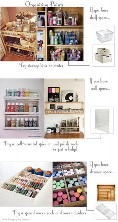 Spice rack storage for paints. Organizing The Art Studio // Live Simply by Annie Art Studio Storage, Art Studio Organization, Art Storage, Organization Ideas, Storage Ideas, Paint Organization, Art Studio Design, Art Studio At Home, Home Art