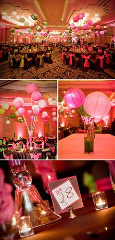 Bat Mitzvah Decor giant balloons, gold streamers and glitter tablescapes for a