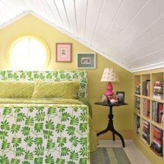 attic room bookshelves