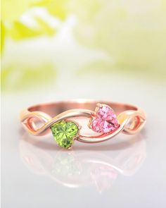 Heavenly Hearts Ring with Heart Birthstones Personalized Promise Rings, Or Rose, Rose Gold, Mother Rings, Two Hearts, Couple Rings, Birthstone Jewelry, Pink Tourmaline, Peridot