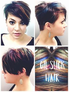 My update is out of date, but here you go. I've had oil slick hair in the exact rainbowy-dark look I wanted for a whole week now. It's not the purple-blue-teal only kind of oil slick. Oil Slick Hair Color, Red Hair Color, Cool Hair Color, Green Hair, Purple Hair, Pixie-cut Lang, Medium Hair Styles, Short Hair Styles, Joico Color