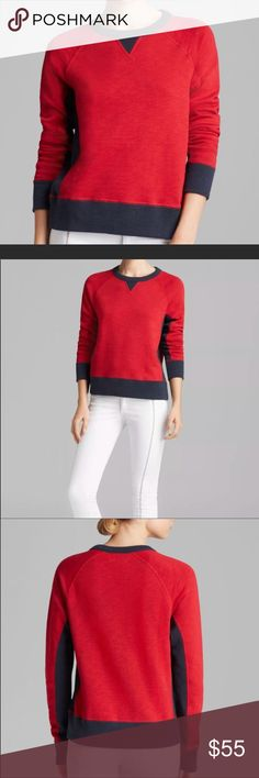 rag & bone jeans color block sweater. This rag & bone is beautiful!!! It features a vibrant red body with navy details at the side and waistband and neck, 100% cotton and in perfect condition. rag & bone Sweaters Crew & Scoop Necks