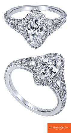 A one of a kind 18k White Gold Diamond Halo Engagement Ring from Gabriel & Co.