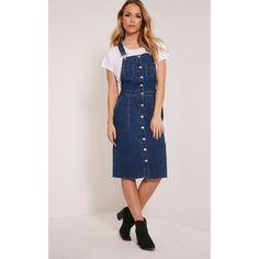 Jayna Blue Dark Wash Pinafore Dress-6 ($33) ❤ liked on Polyvore featuring dresses, blue, blue pinafore dress, denim midi dress, button front denim dress, pinafore dress and denim pinafore dress