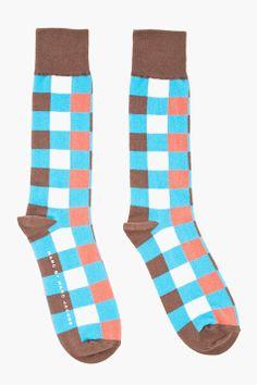 0e60d6c430d Marc By Marc Jacobs Brown Multicolor Check Socks for men