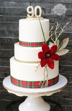 Holiday Tartan Plaid Cake For A 90th Birthday Party
