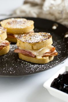 Both sweet and savory, these monte cristo sliders are filled with ham, cheese and perfect for dunking in a bit of jam or drizzled with honey.