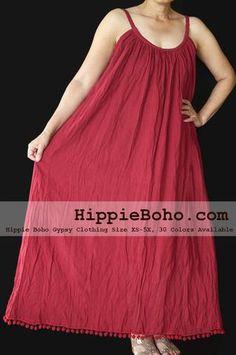 Pom Pom No.015 - Size XS-5X Maroon Hippie Boho Clothing Gypsy Maxi Plus Size Strap Dress Maxi Long Dress
