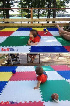 Safari Animals Circus Playroom Using DieCut Elephant Floor Mats - Soft flooring for children's play area