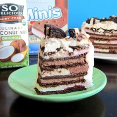 Vegan Ice Cream Sandwich Cake with Vanilla Whip Frosting and Chocolate Cream Filling (dairy-free recipe) - the colorful layers are banana split vegan ice cream sandwiches!