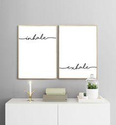 INHALE EXHALE PRINTABLES | Breath Print | Yoga Print | Black and White | Typography Wall Art | Minimalist Print #Minimalistdecor