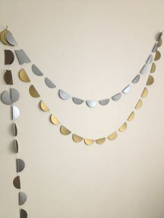Silver and Gold Bunting paper garland party decoration by GrayDayStudio #party #decoration