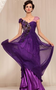 V-neck Chiffon Cap Sleeve Natural Waist Embroider Purple Prom Dress. Bridesmaids dress idea in Purple and Black for my Disneyland/The Nightmare Before Christmas Wedding. <3