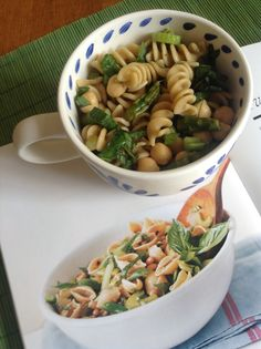 #glutenfree pasta salad with asparagus and chickpeas
