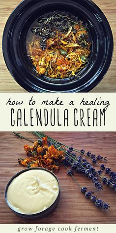 Calendula cream is the perfect way to incorporate healing herbs in your homemade all natural beauty and body care products! Calendula is well known for its healing and medicinal benefits. It's anti-inflammatory, an anti-tumor agent, and a powerful wound Healing Herbs, Natural Healing, Medicinal Plants, Holistic Healing, Natural Home Remedies, Herbal Remedies, Cold Remedies, Health Remedies, Natural Medicine