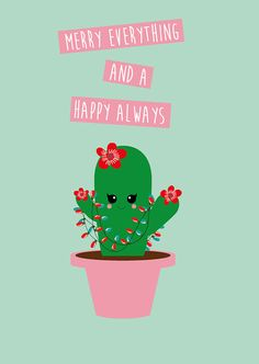 Merry Cactus by Studio Inktvis. Mexican Christmas, Merry Christmas, Christmas Cactus, Christmas Quotes, Christmas Time, Xmas, Cactus Decor, Cactus Art, Cactus Drawing