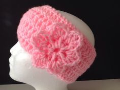 Hand Made Pink Headband Crochet With Flower