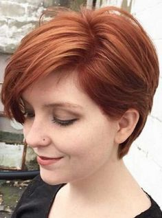 Red Long Pixie Crop Hairstyles 2017 with Fringe