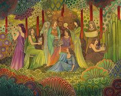 Nine Muses Greek Goddess Art Deco Psychedelic 8x10 Fine Art Print