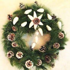 Holiday Christmas White Pine Cone Wreath #OneofAKindFloralDesignGifts