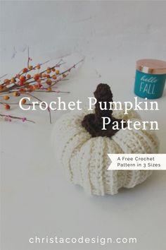 Free crochet pumpkin with stem pattern included. This step by step crochet pumpkin pattern includes three sizes.