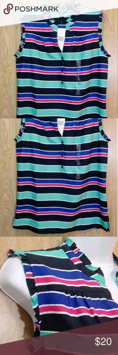 NWT! Tommy Hilfiger - Blue & berry striped top New with tag! Tommy Hilfiger Tops Blouses