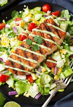 Mexican Grilled Salmon Salad with Avocado Greek Yogurt Ranch Dressing - Cooking Classy
