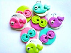 Button Tiny Whales polymer clay button set     8  by digitsdesigns, $10.00