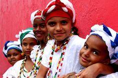 Bahia Brazil .Little girls dressed in traditional Baina dress.